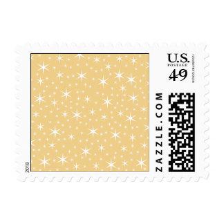 Modelo de estrella en el color blanco y timbres postales