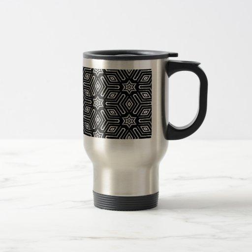 Modelo de estrella geométrico blanco y negro taza de viaje de acero inoxidable