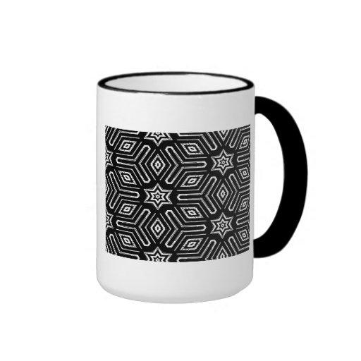 Modelo de estrella geométrico blanco y negro tazas