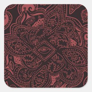 Modelo de estrella persa rojo y negro de la pegatina cuadrada