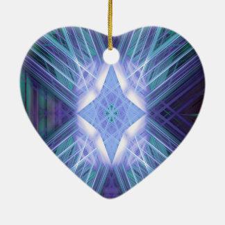 Modelo de estrella que brilla intensamente azul adorno navideño de cerámica en forma de corazón