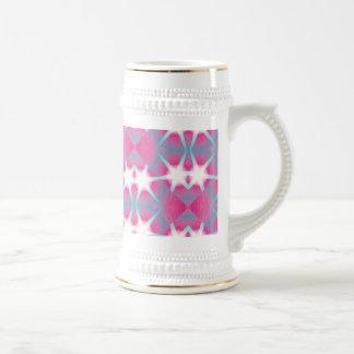 Modelo de estrella rosado geométrico abstracto jarra de cerveza