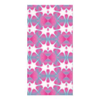 Modelo de estrella rosado geométrico abstracto tarjeta fotografica personalizada