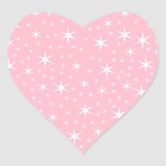 Modelo de estrella rosado y blanco calcomanía de corazón
