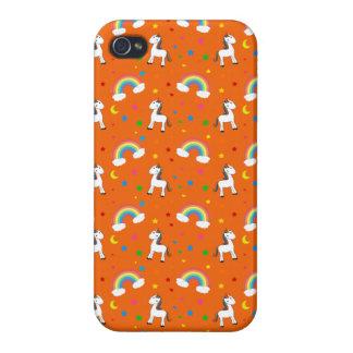 Modelo de estrellas anaranjado de los corazones de iPhone 4 carcasa