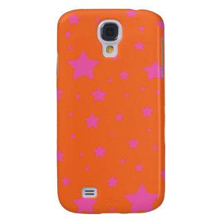 Modelo de estrellas anaranjado y rosado funda para galaxy s4