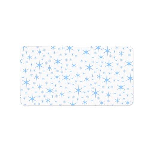 Modelo de estrellas azul claro etiqueta de dirección