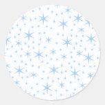 Modelo de estrellas azul claro pegatinas redondas