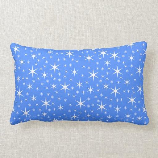 Modelo de estrellas azul y blanco brillante almohada