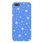 Modelo de estrellas azul y blanco brillante iPhone 5 fundas