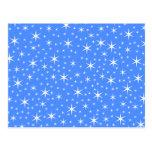Modelo de estrellas azul y blanco brillante postal