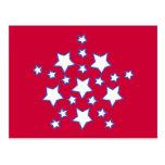 Modelo de estrellas azules blanco rojo, en las postales