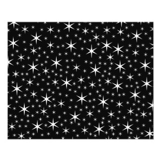 Modelo de estrellas blanco y negro tarjeton