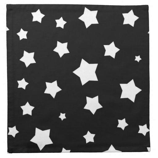 Modelo de estrellas blanco y negro servilletas de papel