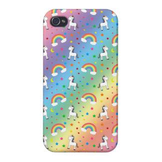 Modelo de estrellas de los corazones del unicornio iPhone 4 cobertura