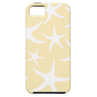 Modelo de estrellas de mar en blanco y amarillo iPhone 5 Case-Mate cárcasa