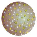 Modelo de estrellas del navidad plato