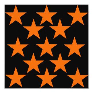 Modelo de estrellas estupendo anaranjado y negro invitación 13,3 cm x 13,3cm