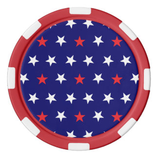 Modelo de estrellas patriótico 2 fichas de póquer