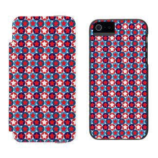 Modelo de estrellas patriótico circundado funda billetera para iPhone 5 watson