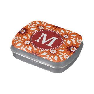 Modelo de estrellas personalizado del rojo anaranj latas de caramelos