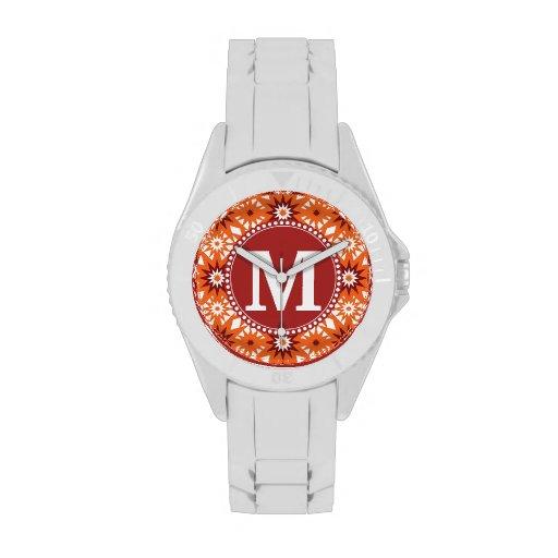 Modelo de estrellas personalizado del rojo anaranj reloj