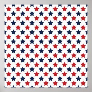 Modelo de estrellas rojas, blancas, y azules póster