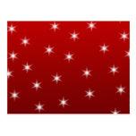 Modelo de estrellas rojo y blanco postal