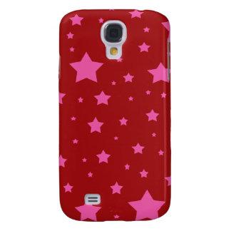 Modelo de estrellas rojo y rosado funda para galaxy s4