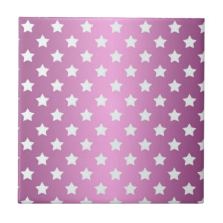 Modelo de estrellas rosado y blanco femenino azulejo cuadrado pequeño