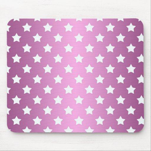 Modelo de estrellas rosado y blanco femenino mouse pads