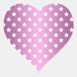 Modelo de estrellas rosado y blanco femenino calcomania corazon personalizadas