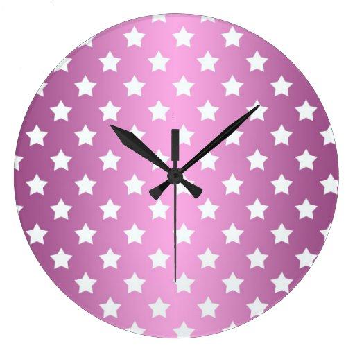 Modelo de estrellas rosado y blanco femenino reloj