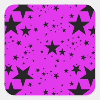 Modelo de estrellas rosado y negro colcomanias cuadradass