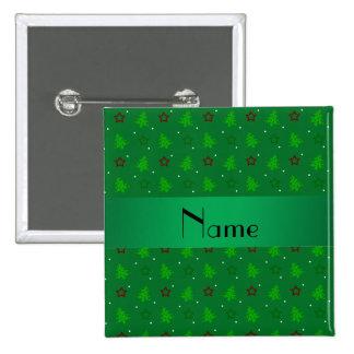 Modelo de estrellas verde conocido personalizado d pin cuadrado