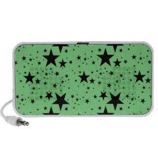 Modelo de estrellas verde y negro portátil altavoces