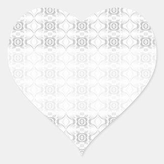 Modelo de flor elegante gris claro y blanco pegatina en forma de corazón