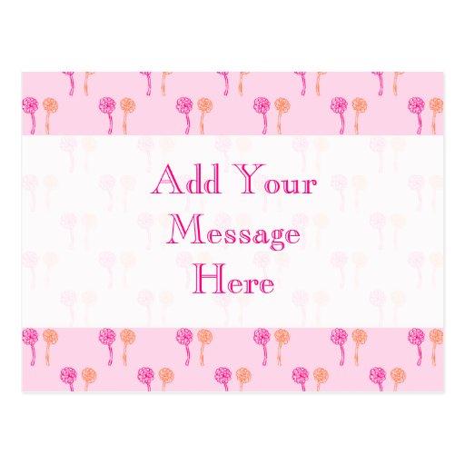 Modelo de flor rosado y anaranjado tarjetas postales