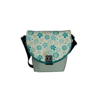 Modelo de flores abstracto azul del trullo lindo bolsa de mensajería