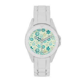 Modelo de flores abstracto azul del trullo lindo relojes de mano