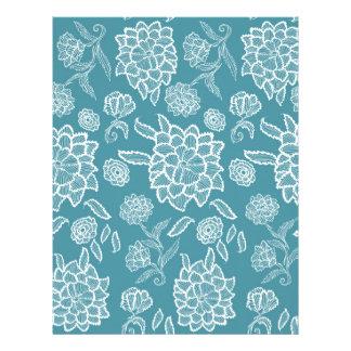 Modelo de flores azul de la flor blanca del cordón membrete a diseño