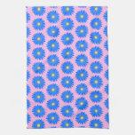 Modelo de flores azul en rosa toallas de mano