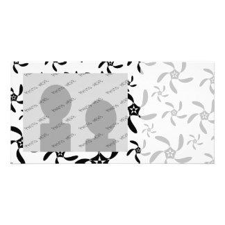Modelo de flores blanco y negro elegante tarjetas fotográficas personalizadas