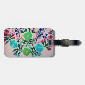 Modelo de flores colorido etiquetas de maletas