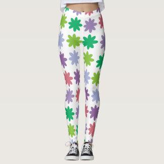 Modelo de flores colorido leggings