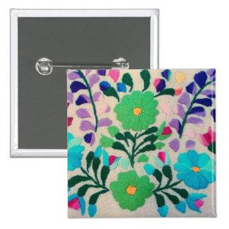 Modelo de flores colorido pin cuadrado