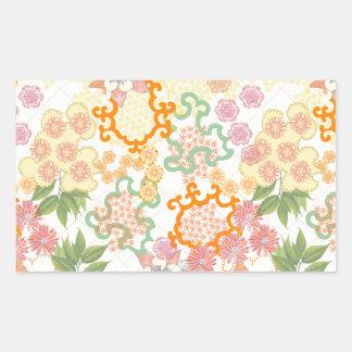 Modelo de flores de la cabaña del verano pegatina rectangular