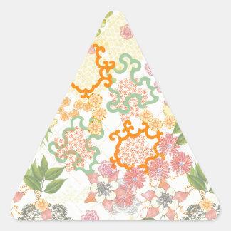 Modelo de flores de la cabaña del verano pegatina triangular