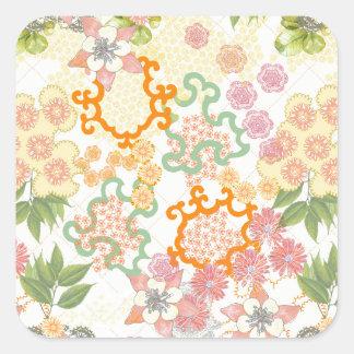 Modelo de flores de la cabaña del verano pegatina cuadrada