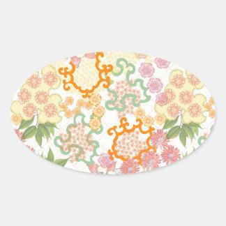 Modelo de flores de la cabaña del verano pegatina ovalada